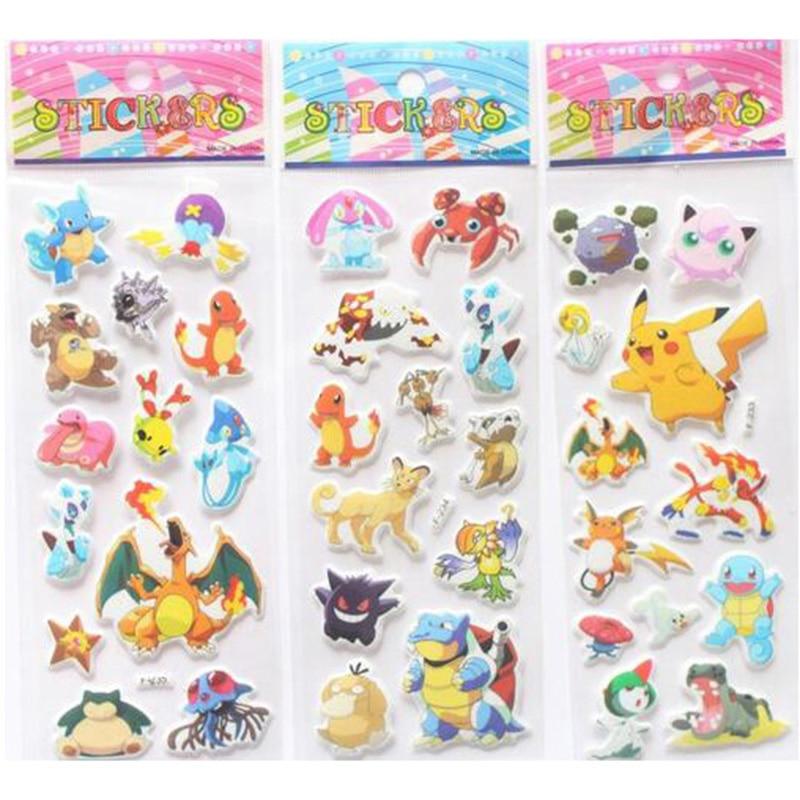 10 Unids Pokemon Pikachu pegatinas para niños Artesanía collage tridimensional E