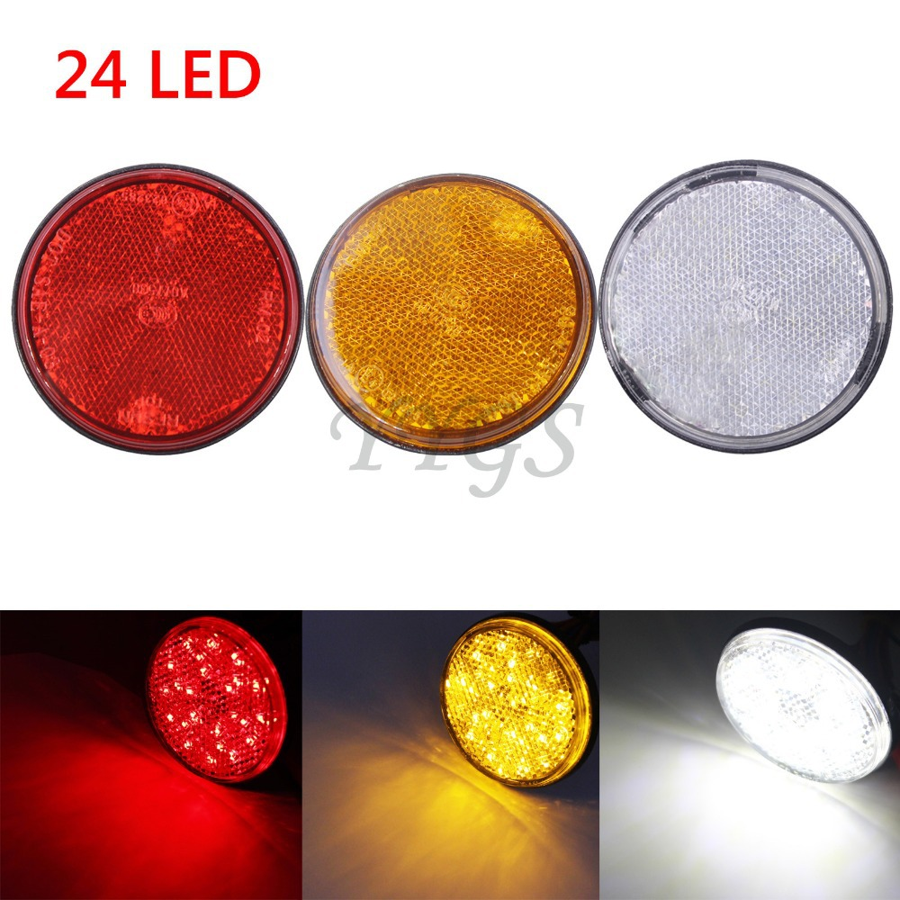 10pcs Motorcycle 24 LED Round Reflector Rear Tail Brake Stop Marker Light Indicator Truck Trailer Bikes Turn Signal Refires Lamp
