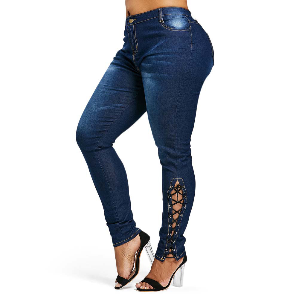 Rosegal Plus Size Zipper Fly Side Lace Up Jeans Skinny