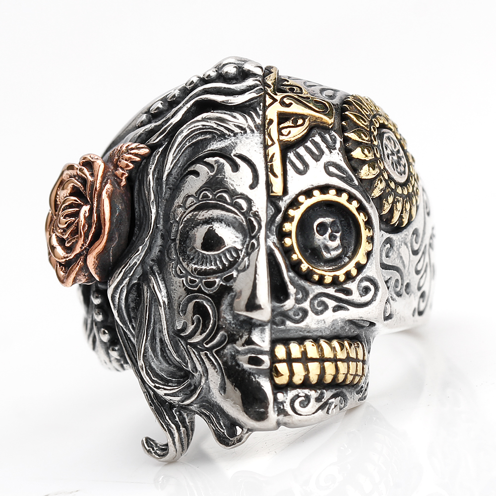 где купить 925 Sterling Silver Skull Ring for Men Two Face with Rose & Sunflower Skeleton Punk Ring Men Women Fashion Jewelry дешево