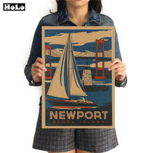 City Travel Newport Vintage Poster Krafts paper Retro painting art Wall Picture Home Living Room Cafe Bar pub Decor 42x30cm(China)