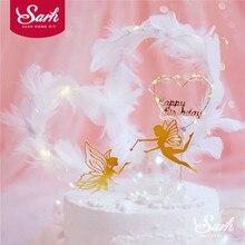 Fairy Elf Gelukkige Verjaardag Cake Topper Bloem Kant Parel Mesh Engel Decoratie Voor Kinderen Kid Meisje Feestartikelen Mooie Geschenken