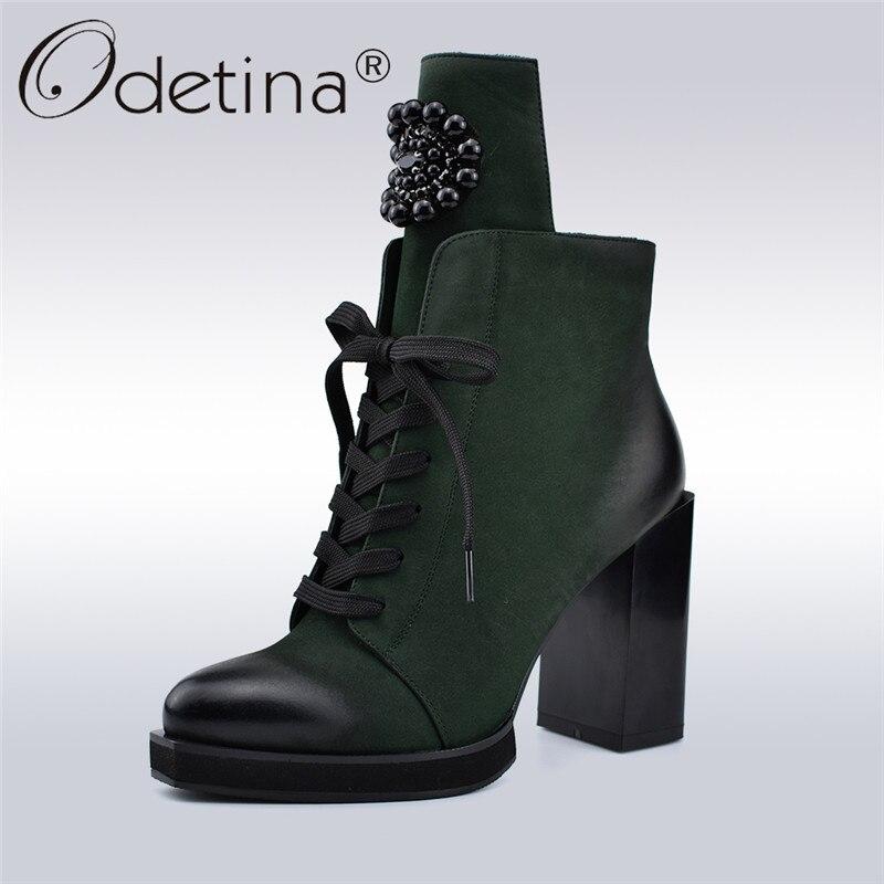 Odetina осень-зима новые модные женские ботильоны украшения из металла со стразами обувь на высоких квадратных каблуках 10 см с боковой молнией ...