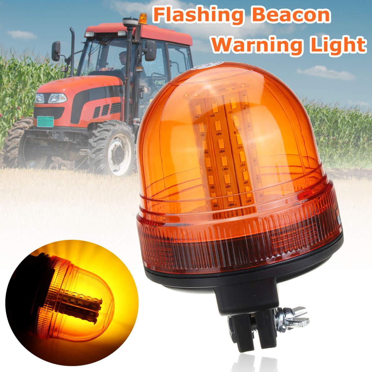 12V/24V 60 SMD5730 LED Rotating Flashing Amber Beacon Flexible DIN Pole Tractor Warning Light