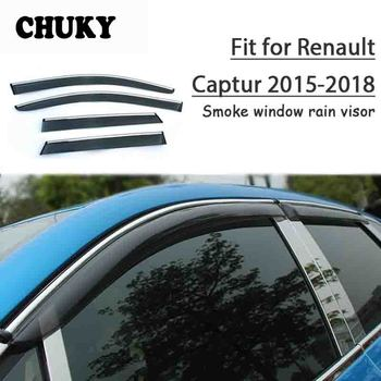 Chuky 4pcs ABS Car Styling Window Sun Visors Awnings Shelters Rain Shield For Renault Captur 2015 2016 2017 2018 Accessories