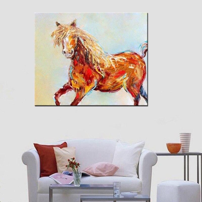 Cadeaux décor à la maison mur Art peint à la main abstraite dessin animé peintures à l'huile sur toile grand couteau drôle cheval photos pour salon