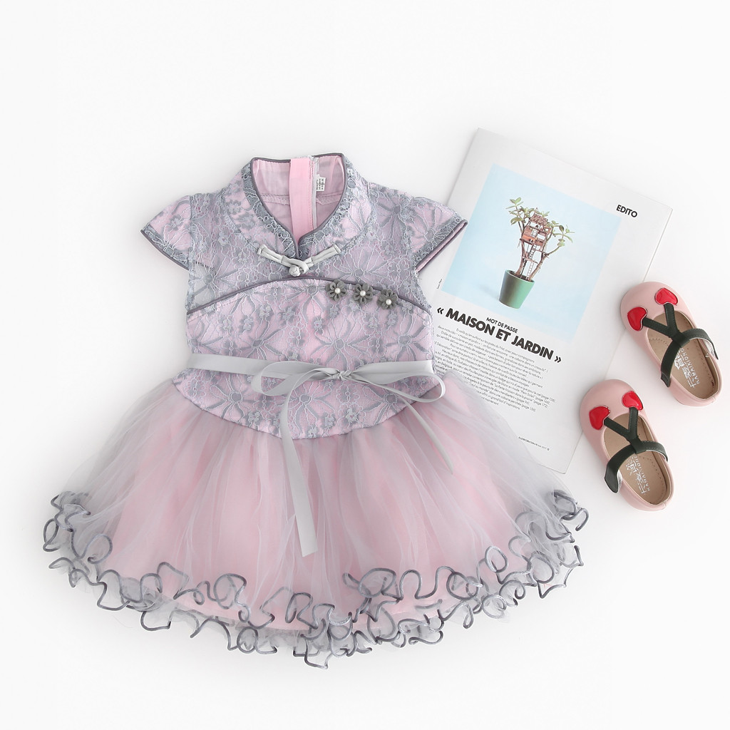Toddler Kid Baby Girl Floral Printed Lace Patchwork Cheongsam Princess Dress