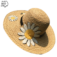2019 simple Summer Parent child Beach Hat Female Casual Panama Hat Lady Brand Women Flat brim Daisy Straw cap girls Sun Hat