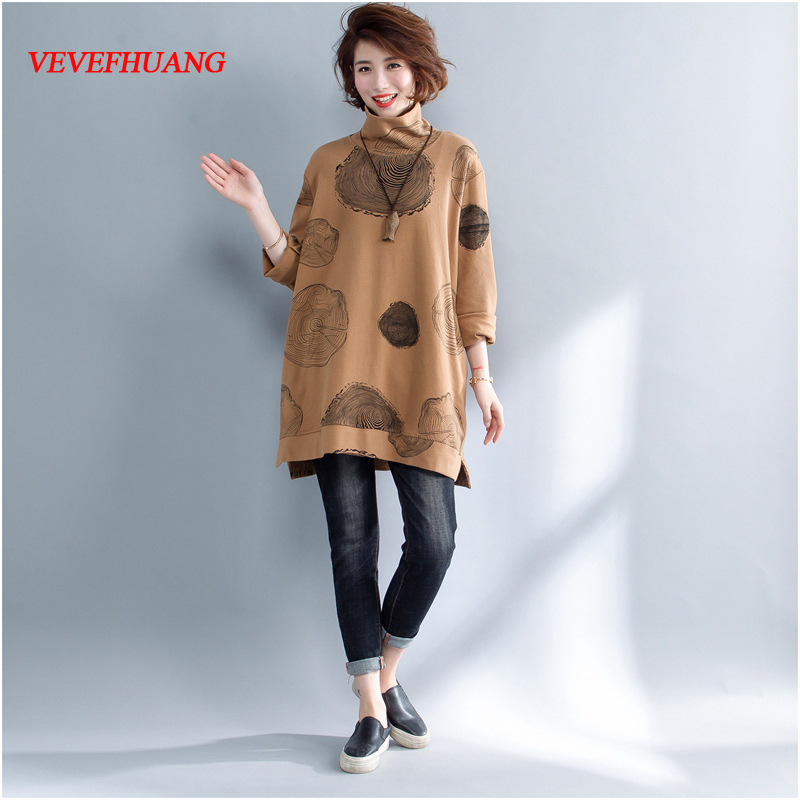 Spring Autumn Women Fashion Elegant Dots Print Turtleneck Pullover Tops Ladies Female Large Big Loose Stretch T-shirt Plus Size