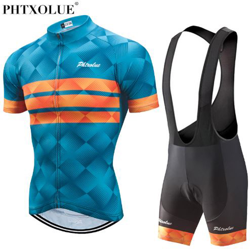 Phtxolue 2018 Cycling Clothing Men Set Bike Clothing Breathable Anti UV Bicycle Wear Short Sleeve Cycling Jersey Sets in Cycling Sets from Sports Entertainment