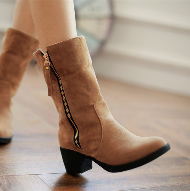 ФОТО BISI GORO autumn boots for women motorcycle boots heels platform zipper suede boots female botas femininas martin boots
