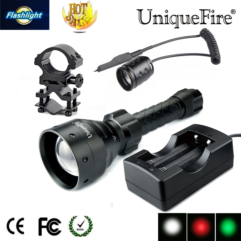 UniqueFire UF-1405 CREE Q5 Rechargeable LED Flashlight  Black Color Lamp Torch +Gun Mount+Rat Tail+Two Slot Charger