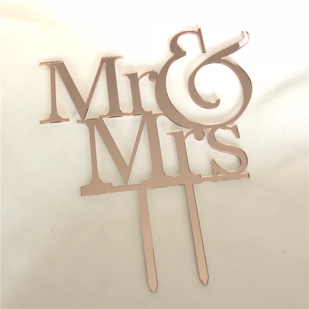 Rose Gold Glitter Silver Mr Mrs Wedding Cake Topper Gold