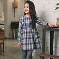 Spring Autumn Classic Plaid Children's Dresses All-Matches Girls Outfit Tops 100% Cotton Full Sleeves Teenager Dress Kid Clothes