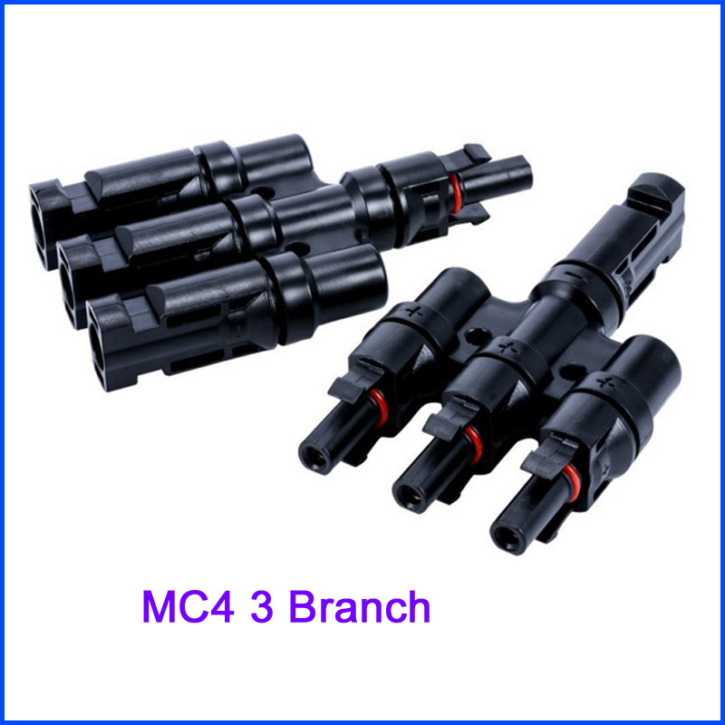 MC4 Connector Solar PV system Waterproof rating IP65 MC4 Solar Panel Connector 3T Branch 30A 1000V 1 pair ip67 pv t type connector mc4 solar connector t branch connector male