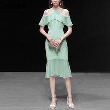 Seifrmann New 2019 Women Spring Summer Dress Runway Fashion Designer Sexy Off shoulder Ruffles Elegant Mermaid Party Dresses