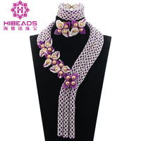 Изящный Белый Фиолетовый Африканский Бусы Свадебные украшения комплект цветок комплект ювелирных изделий ручной работы Обручение Африкан