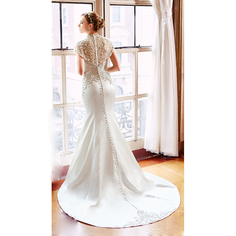 Button Down Wedding Gowns with Train – fashion dresses