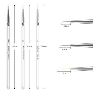 Image 2 - 3Pcs/set Kolinsky Nail Art Brush Crystal Acrylic Thin Liner Drawing Pen Painting Stripes Flower 2 side Nail Art Manicure Tools