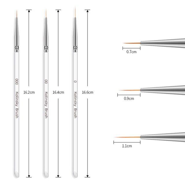 3Pcs/set Kolinsky Nail Art Brush Crystal Acrylic Thin Liner Drawing Pen Painting Stripes Flower 2 side Nail Art Manicure Tools 1