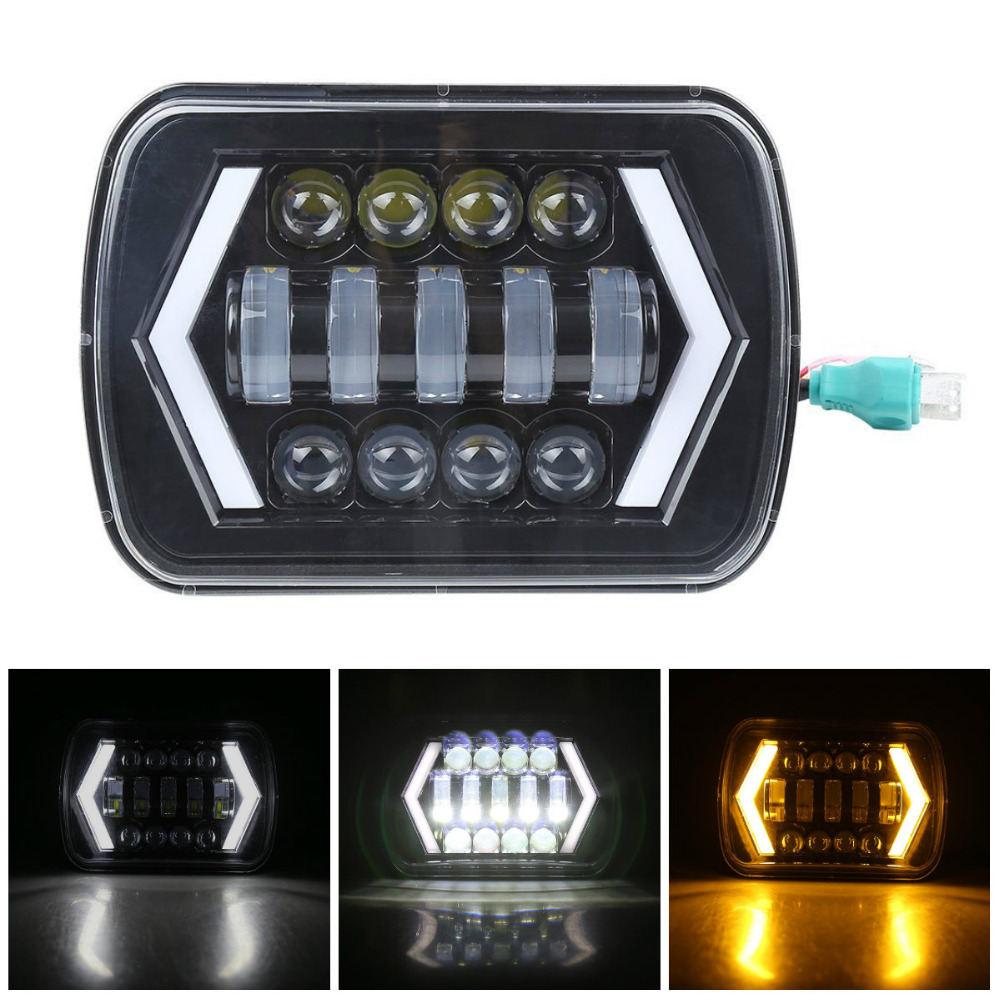 7x6inch 5x7inch Square LED Headlamp with Arrow Angel Eyes DRL Turn Signal Light Fit for Trucks Jeep Wrangler XJ7x6inch 5x7inch Square LED Headlamp with Arrow Angel Eyes DRL Turn Signal Light Fit for Trucks Jeep Wrangler XJ