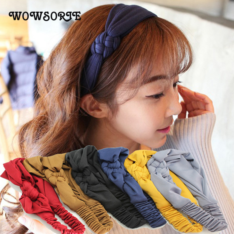 Wowsorie 2018 Pure Elastic Knot Headwrap Hair Band Broadside Cross Braid Hair Bands Korean Headdress Women Accessories Chidren