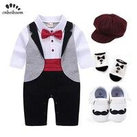 Детский смокинг для новорожденных; комплект одежды для мальчиков; одежда для свадьбы и дня рождения; нарядное платье; хлопковый костюм с дли...