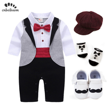 New born Baby Tuxedo sets rompers clothing set for boys weeding birthday formal party clothes dress cotton long sleeve costume ishowtienda baby boys clothes set formal party christening wedding tuxedo bow tie long sleeve gentry splice costume for kids