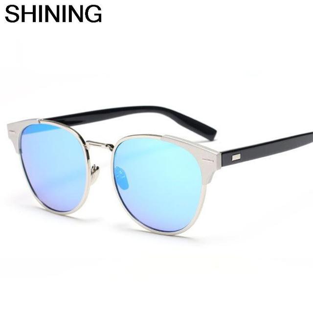 Shining 2016 New Fashion Hot Selling Women Oval Cat Eye Sunglasses Men Luxury Brand Designer Alloy Frame Mirror Sun Glasses