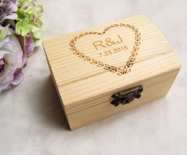 Personalized Wooden Wedding Ring Box Custom Your Names and Date Wood