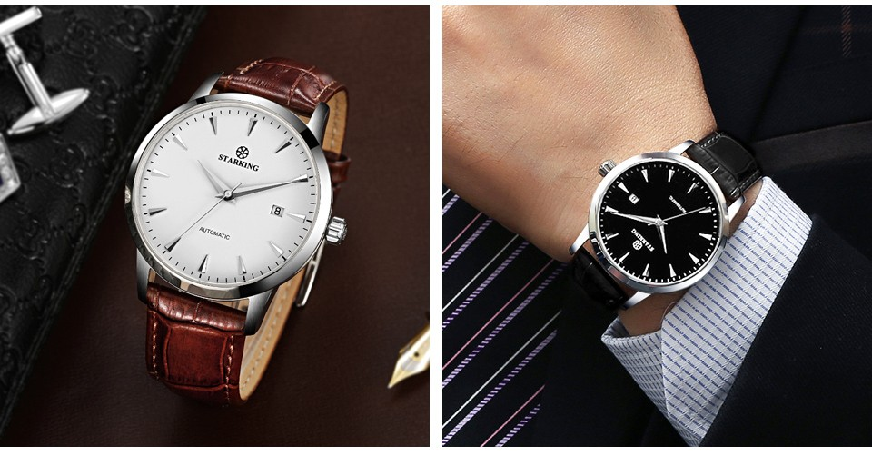 Topdudes.com - STARKING Top Men's Automatic Self-winding Stainless Steel 5ATM Waterproof Business Wrist Watch