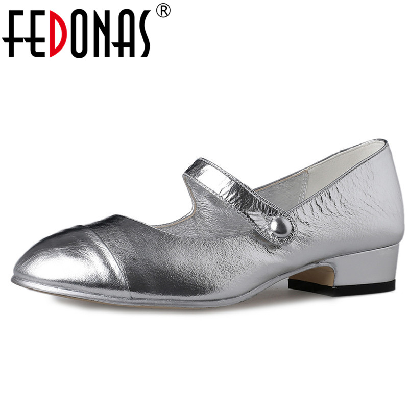 FEDONAS New Fashion Pumps Mary Jane Silver White Party Wedding Shoes Woman Thick Heels Spring Summer