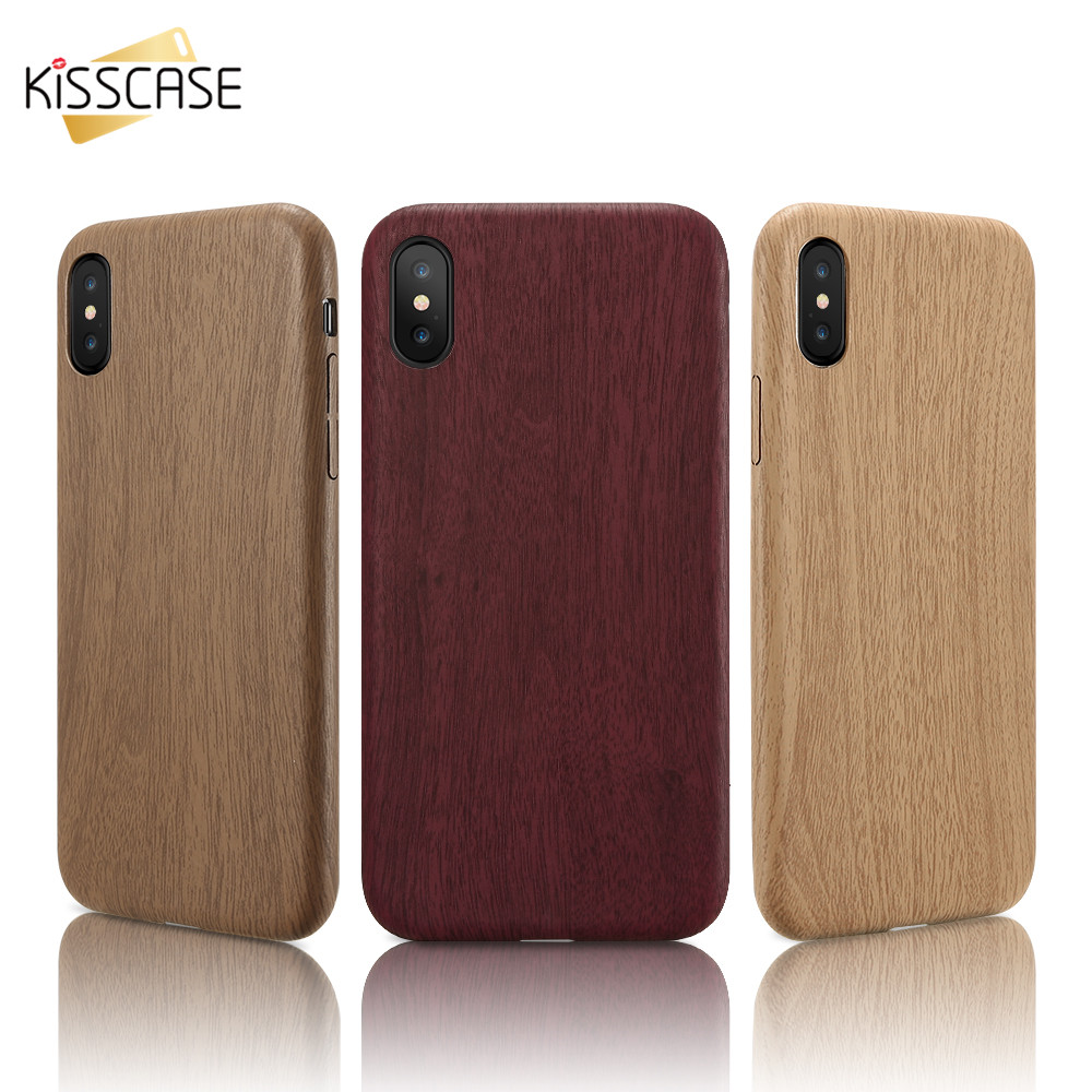 KISSCASE Wood Patterned PU Cover For iPhone 5 5s Se 6s 7 8 Plus Cases For iPhone X XR XS M