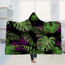 Yoga mat Hooded Blanket Cloak Magic Hat Thick Double-layer Plush 3D Digital Printing Leaves Series