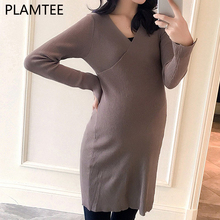 PLAMTEE Elegant Knitted Maternity Dresses 2017 Autumn Winter V-neck Clothes For Pregnancy Women Lace-up Pregnant Dress Clothing