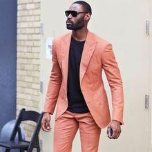 2020 Latest Designs Peaked Lapel Two Buttons Men Suits Custome Homme Peach Tuxedos Cool Blazer Men Handsome Slim(Jacket+Pants)