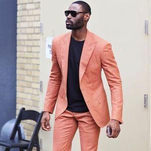 Image 1 - 2020 Latest Designs Peaked Lapel Two Buttons Men Suits Custome Homme Peach Tuxedos Cool Blazer Men Handsome Slim(Jacket+Pants)
