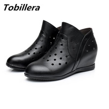 Tobillera 2017 Summer Cutout Women Short Ankle Boots Genuine Leather Plus Size Height Increasing Breathable Ladies White Shoes