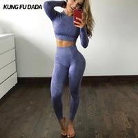 KFDD Workout Women Yoga Set Fitness Sport Suit Gym Workout Crop Top Long Sleeve Yoga Shirt And Yoga Leggings Seamless Set Gym