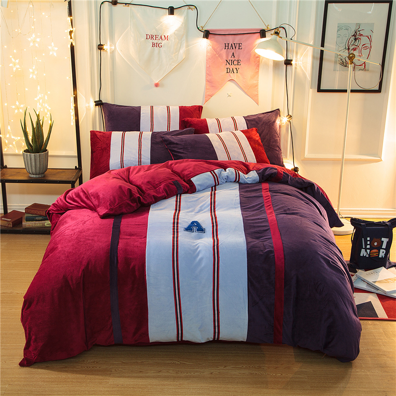 4pcs Crystal Flannel Fashion style Stripe Bedding set Winter Warm Fleece Soft Duvet cover set Bed Sheet Queen King size