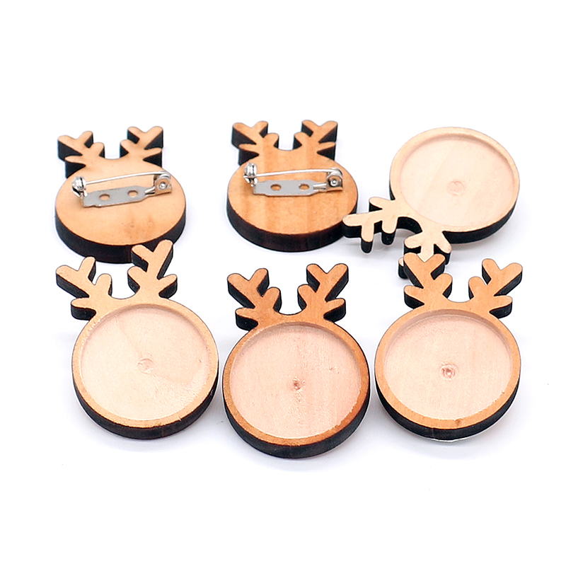 Tray Wooden Crafts Making 10pcs Round vintage style Wooden Cameo Base Setting