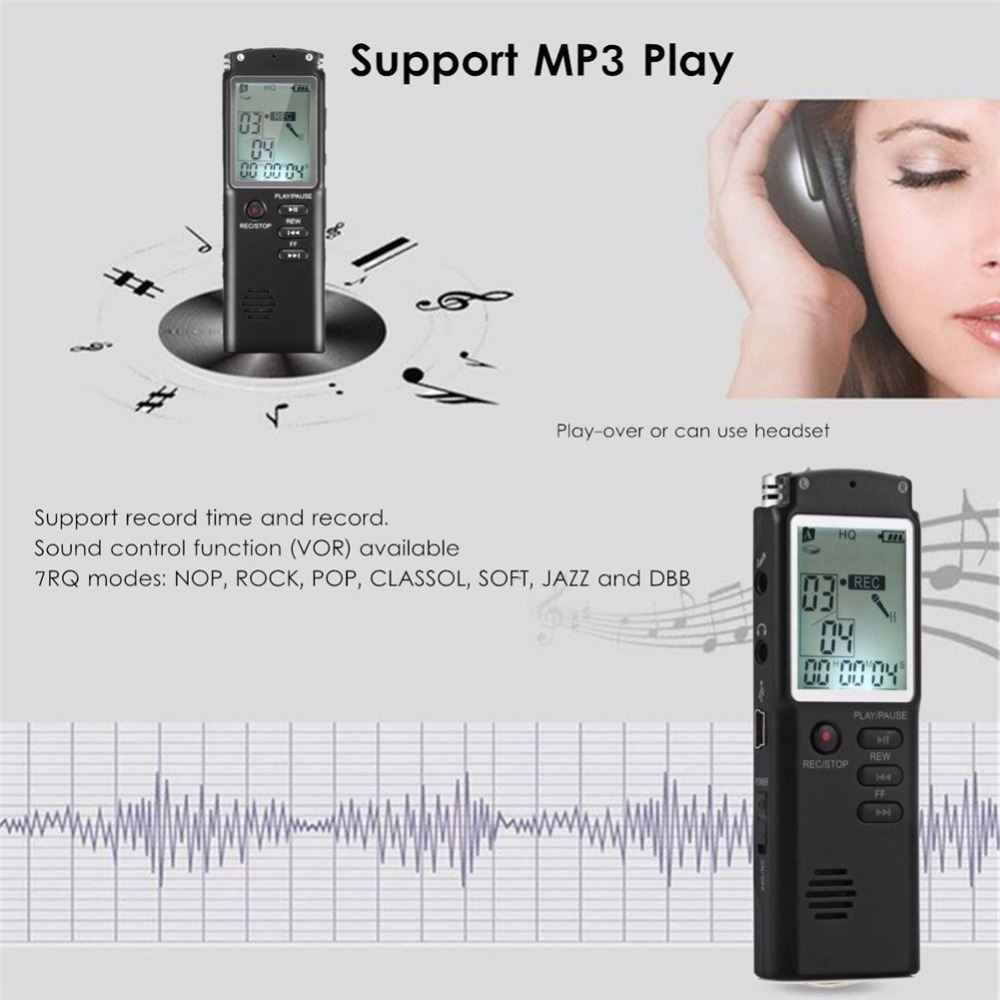 8GB 16GB 32GB Voice Recorder USB Professional 96 Hours Dictaphone Digital Audio Voice Recorder With VAR/VOR Built-in Microphone