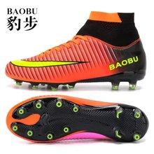 купить Outdoor Men Soccer Shoes Kids Boys Cleats Football Boots Long Spikes Sport Sneakers Sneakers Shoes Turf Futsal Men Size 35-45 дешево
