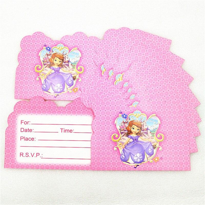 10pcslot Disney Princess Sofia Cartoon Mini Greeting Card Birthday