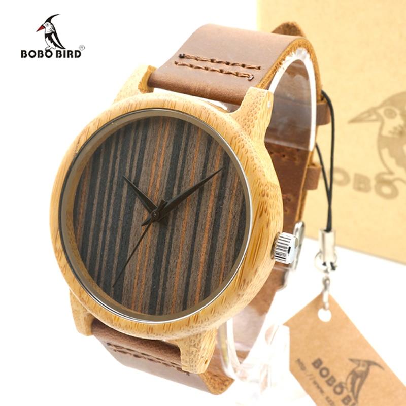 2017 Luxury Brand BOBO BIRD Handmade Bamboo Watch Men Wooden Wristwatches relogio masculino C-A23