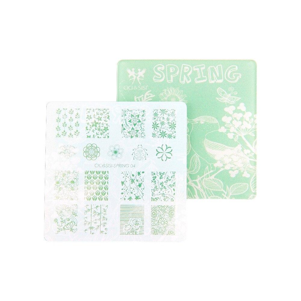 CICI & SISI flor patrón Nail Art estampado placas plantilla imagen ...