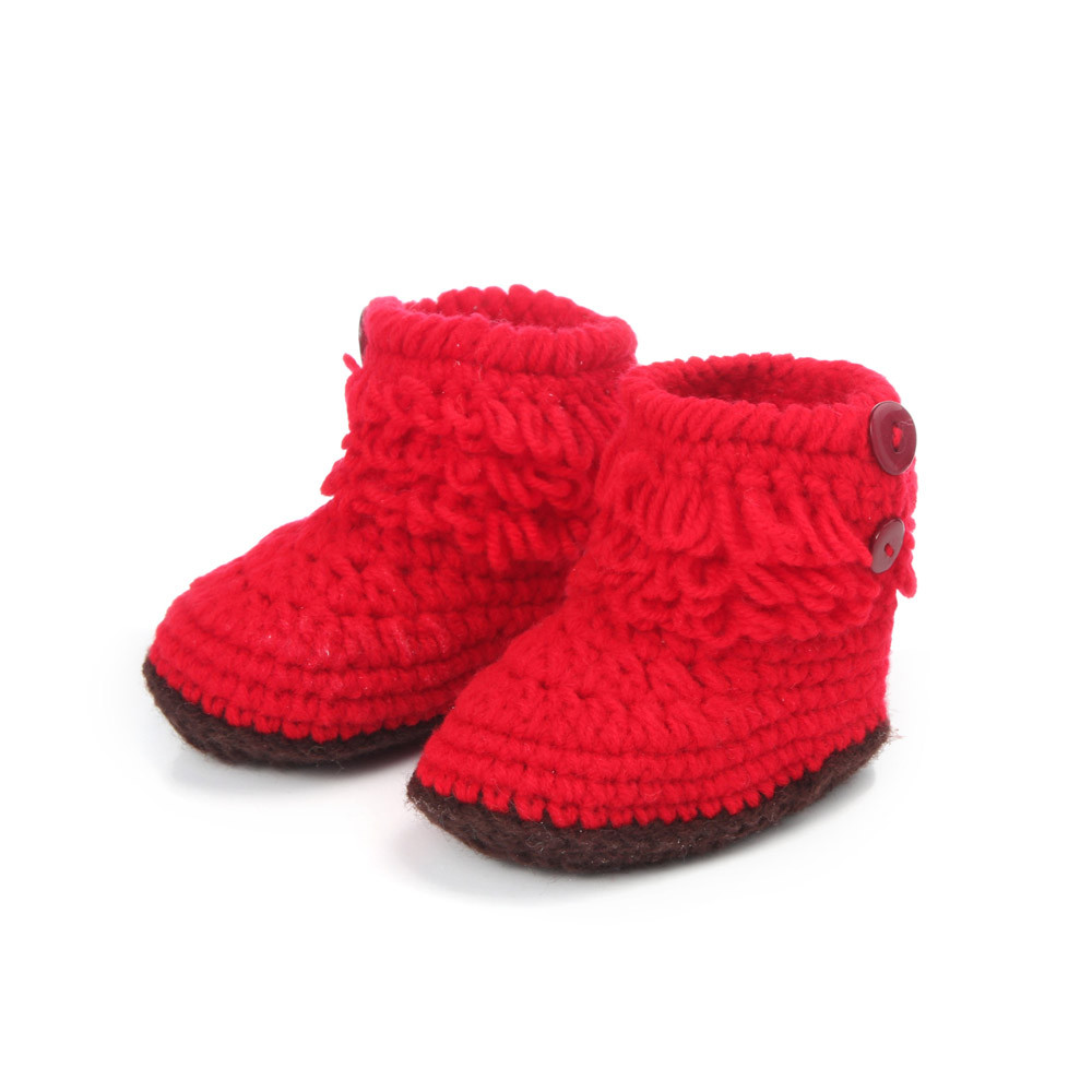 Hot Sale Baby Girls Crochet Handmade First Walkers Baby Shoes Knit High-top Tall Boots Shoes
