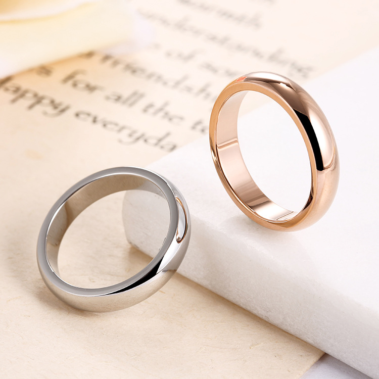 High quality 4mm Wholesale Simple Ring Fashion Rose Gold Ring Men's and Women's Exclusive Couple Wedding Ring 3