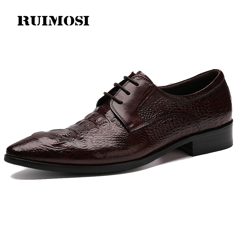 RUIMOSI Luxury Crocodile Man Formal Dress Shoes Genuine Leather Male Derby Oxfords Pointed Toe Men's Wedding Bridal Flats CE21