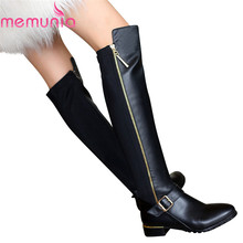 Large size High quality pu+ genuine leather thigh high boots women shoes suqare heel zip over the knee boots fashion long botas